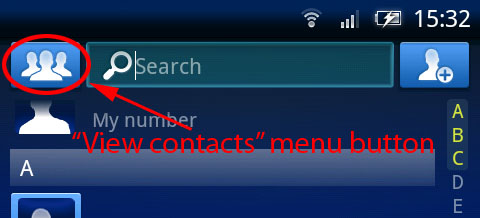 "The ""View contacts"" menu button is to the left of the search bar, and looks like three contact silhouettes."